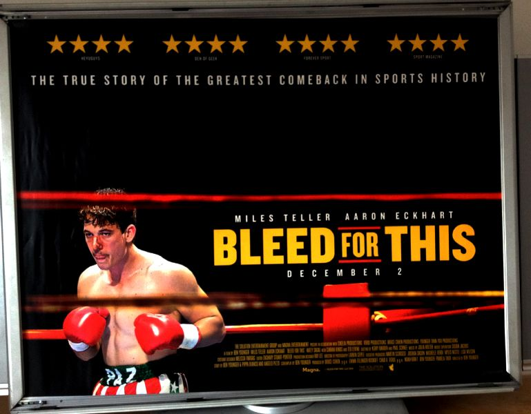 Cinema Poster: BLEED FOR THIS 2016 (Quad) Miles Teller Aaron Eckhart Katey Sagal